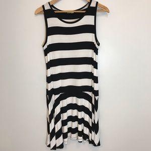 LOFT Black & White Striped Tank Style Swing Dress